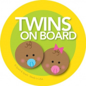 Twins on Board Car Sticker - Afr. Amer. baby boy+girl on board - Modern and Unique - Bright Colours