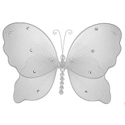 The Butterfly Grove Emily Butterfly Decoration 3D Hanging Mesh Organza Nylon Decor, Plumeria White, Small, 13cm x 10cm