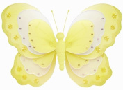 Hanging Butterfly Yellow & White Triple Layered Nylon Butterflies Decorations - Decorate for a Baby Nursery Bedroom, Girls Room Ceiling Wall Decor, Wedding Birthday Party, Bridal Baby Shower, Bathroom. Butterfly Decoration 3D Art Craft