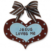 Enesco Grow in Grace 144096 Wall Decor Jesus Loves Me Hear Wall Hanging, 13cm