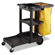 Zippered Vinyl Cleaning Cart Bag, 21gal, 17 1/4w x 10 1/2d x 30 1/2h, Yellow