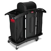 High-Security Housekeeping Cart, Two-Shelf, 22 x 51-3/4 x 53-1/2, Black/Silver