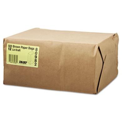 12# Paper Bag, 40lb Kraft, Brown, 7 1/16 x 4 1/2 x 13 3/4, 500/Pack