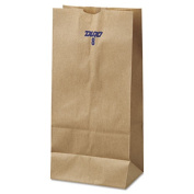8# Paper Bag, 35lb Kraft, Brown, 6 1/8 x 4 11/64 x 12 7/16, 500/Pack