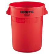 Brute Refuse Container, Round, Plastic, 32 gal, Red