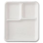 Heavy-Weight Molded Fiber Cafeteria Trays, 3-Comp, 8 1/4 x 9 1/2, 500/Carton