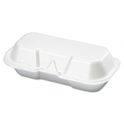 Foam Hot Dog Container, 7 3/8 x 3 9/16 x 2 1/4, White, 125/Bag, 4 Bags/Carton