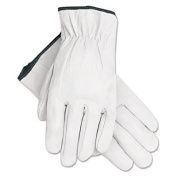 Grain Goatskin Driver Gloves, White, Extra-Large, 12 Pairs