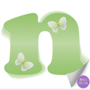 Green Butterfly Alphabet Letter Initial Wall Sticker Vinyl Stickers - Decal Letters for Children's, Nursery & Baby's Room Decor, Baby Name Wall Letters, Girls Bedroom Wall Letter Decorations, Child's Names. Butterflies Mural Walls Decals Baby Shower