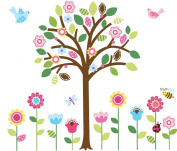 Giant Spring Flower Garden & Tree Baby/Nursery Wall Sticker Decals for Boys and Girls