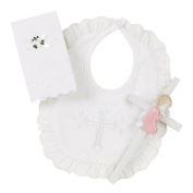 Elegant Baby Girl's Christening Gift Set Includes 100% Cotton Bib, Wall Hanging Porcelain Cross & Bible. Gift Boxed