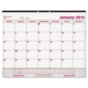 Rediform C1731V Monthly Desk Pad Calendar, 22 x 17, 2014, White-Maroon