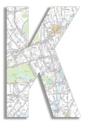 The Home Stupell Home Decor Collection London Map Hanging Wooden Initial, K, 46cm