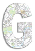 The Home Stupell Home Decor Collection London Map Hanging Wooden Initial, G, 46cm