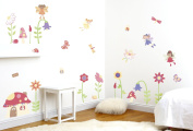 FunToSee Nursery Wall Decal Kit, Enchanted Fairy Garden