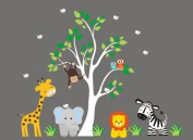 Baby Nursery Wall Decals Safari Jungle Children's Themed 211cm X 246cm (Inches) Animals Trees Monkey Zebras Giraffes Lions Elephants Wildlife Made of Seramark Material Repositional Removable Reusable Wall Fabric