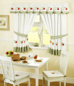 APPLES AND PEARS GREEN RED GINGHAM KITCHEN CURTAINS W117cm X L107cm INC TIE BACKS