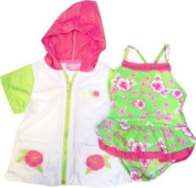 Infant or Toddler Girls Green Daisy Swimsuit and Robe Set