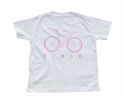 Girl's White Toddler T-Shirt with Bicycle
