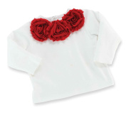 Mud Pie Baby-Girls Infant Red Chiffon Rosette Long Sleeve Top