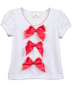 Laura Dare Toddler Girls Red Bow Top Shirt