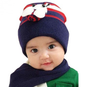 LOCOMO Baby Infant Bee Beanie Hat Cap Scarf Warm Combo Set FBA001s03 Navy