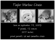 Take Three on Black Birth Announcement - Set of 20
