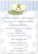 Lily Pad on Blue Baby Shower Invitations - Set of 20
