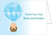 Hot Air Balloon Baby Boy Baby Thank You Cards - Set of 20