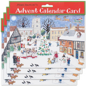 Alison Gardiner Pack of 4 Traditional Advent Calendar Cards -Christmas in the Village