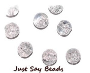 40pcs x 8mm Crystal Round Glass Crackle Beads - Jewellery Making