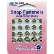 Hemline Snap Fasteners - Nickel Silver, Assorted Sizes, 20 sets [Toy]