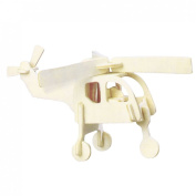 DIY Wooden Helicopter Model 3D Puzzle Toy Woodcraft Construction Kit for Kids