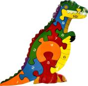 Large Wooden Cut Number Jigsaw Puzzle 33cm - Dinosaur Puzzle