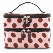 Caltrad Pink Polka Dots Cosmetic Make Up Toiletry Purse Travel Organiser Beauty Bags Holder Handbag Wash Case Gift Favour