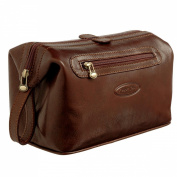 Maxwell Scott® Luxury Italian Leather Men's Toiletry Bag Large (DunoL), Brown