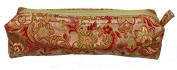Gold and Red Fabric With Floral Decoration Make-Up/Cosmetics Bag, 6.5 inches/17cm Length, 2 inches/5cm Width