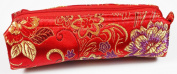 Red and Gold Fabric With Purple Floral Decoration Make-Up/Cosmetics Bag, 6.5 inches/17cm Length, 2 inches/5cm Width
