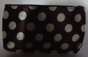 Brown with White Polka Dots Make Up Bag (or Toiletry bag) with Zip Fastener, Length 7.5 x 4.5 Height inches