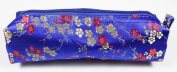 Royal Blue/Gold/Red Fabric With Floral Decoration Make-Up/Cosmetics Bag, 6.5 inches/17cm Length, 2 inches/5cm Width