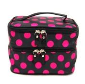 BeautyLife Polka Dots Double Layer Dual Zipper Cosmetic Bag Toiletry Bag Make-up Bag Hand Case Bag