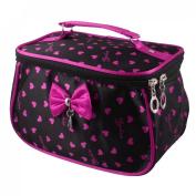 Hearts Print Double Zipper Rectangular Cosmetic Bag Pouch Black Fuchsia