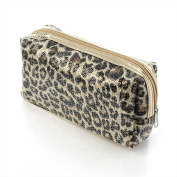 Animal Print Sequin Make-Up Cosmetics Bag Purse - Beauty Accessories