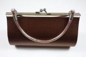 Brown Satin Evening Clutch Bag (Make up Bag) With Metallic Effect Decoration and Handle, Length 18 x Height 10 cms