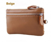 Beige Multifunctional Clutch Bag/Purse/Key Holder/Make-Up Bag/Mobile Phone Storage, Made With Genuine and PU Leather