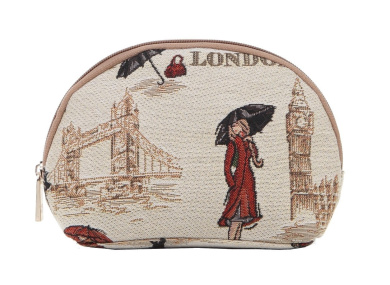 Signare Fashion Canvas/Tapestry Cosmetic Bag/Make-up Bag in Graceful London beauty design
