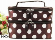 Aokeshen 1pc Coffee Retro Dot Beauty Women Coach Cosmetic Makeup bag Toiletry case Clinique Travel Organiser Large Double-deck Accessory Set Storage Polyester with small mirror