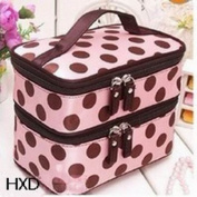 Aokeshen 1pc Pink Retro Dot Beauty Women Coach Cosmetic Makeup bag Toiletry case Clinique Travel Organiser Large Double-deck Accessory Set Storage Polyester with small mirror