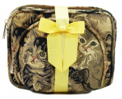 Tapestry Cosmetic/Makeup Bag set (x2) Cats - Gobelin Style