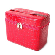 Yesurprise Portable Red Fashion Snake Skin Cosmetic Makeup Beauty Hand Case Toiletry Bag